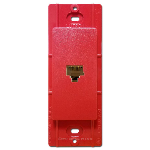 Satin Red Phone Jack Wall Plate Insert - Lutron Hot