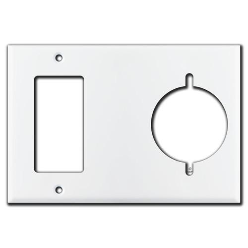 "GFI Outlet + 2.125"" Dryer/Range Outlet Plate 3-Gang - White"