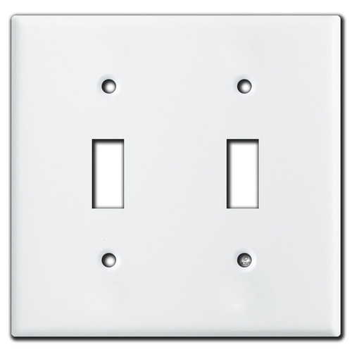 2 Toggle Switch Plates - White