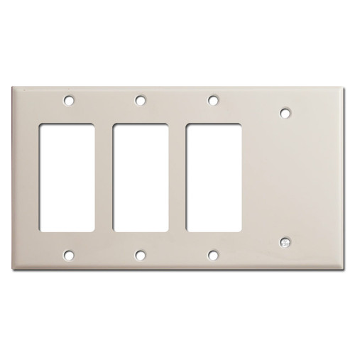 3 Decor Rocker & 1 Blank Light Switch Cover - Light Almond