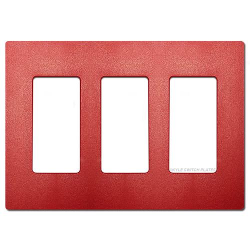 3 Decor Rocker GFCI Screwless Wall Plates Lutron - Red Satin