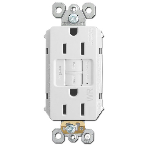 Water Resistant GFCI Outlet Self Test 15A - White