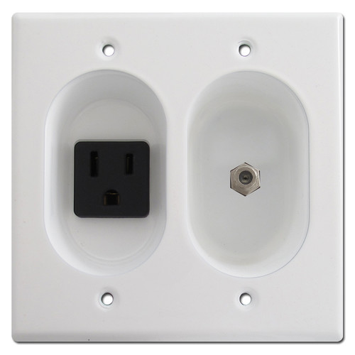Double Gang Recessed Receptacle and Coax Cable Connector