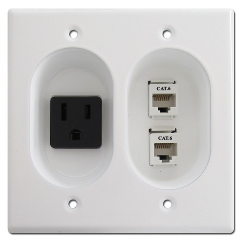 Recessed 15 Amp Receptacle / RJ45 Cat 6 Connectors, White