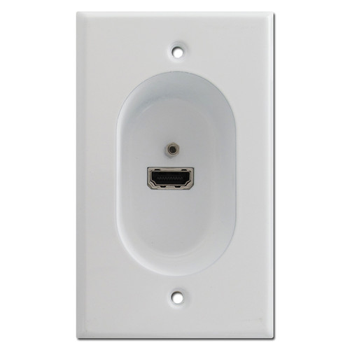 White Recessed Wall Plate - Hi Def HDMI Connection Port