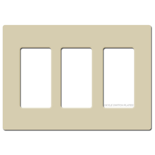 Screwless 3 Decor GFI Electrical Wallplate Lutron - Ivory Plastic
