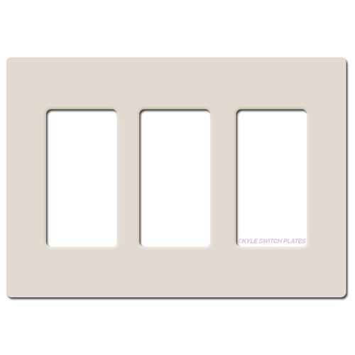 Screwless 3 Decor Wall Plate Lutron - Light Almond Plastic