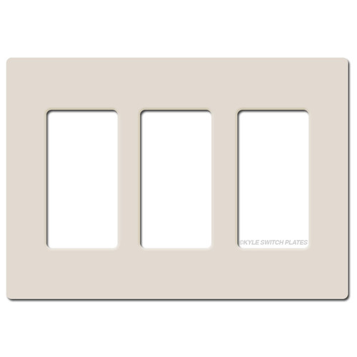 Screwless 3 Decor Wall Plate Lutron - Light Almond Plastic