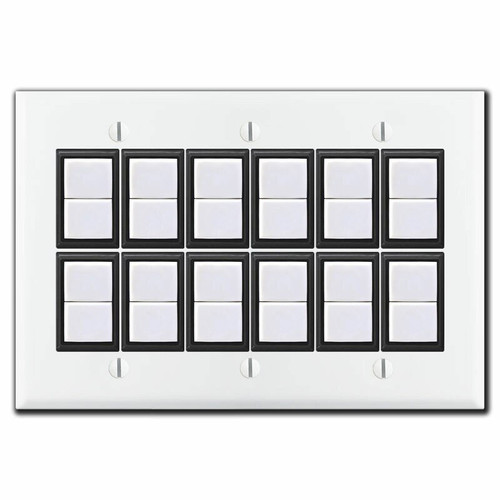 New Style GE Low Voltage 3-Gang 12 Switch Cover Set - White