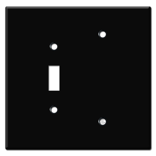 Jumbo Toggle Blank Light Switch Cover - Black