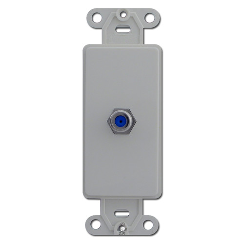 Gray Coaxial Jack Insert for Decora Rocker Wall Plate
