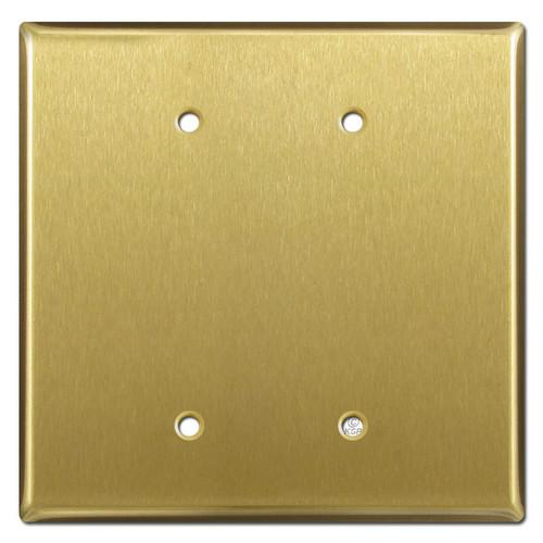 Oversized 2 Blank Wallplate Cover - Satin Brass