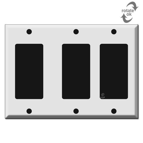 Wide Spaced 3 GFCI Decor Rocker Wall Plates