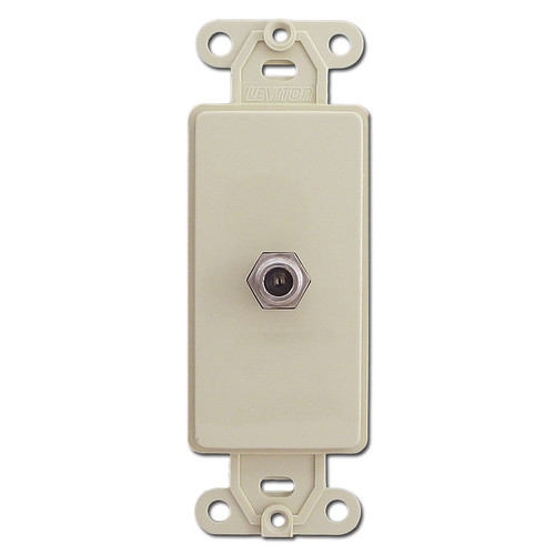 Ivory Switchplate Cable Adapter - Decora Coaxial Jack