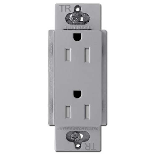Gray Decor Receptacle Outlet 15A Tamper Resistant Lutron Claro