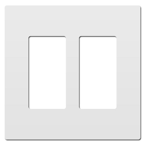 White Plastic Screwless Light Switch Plate - 2 Gang Legrand