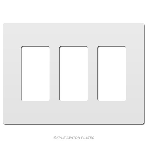 White Hidden-Screws Wall Plate Cover - 3 Gang Plastic Legrand