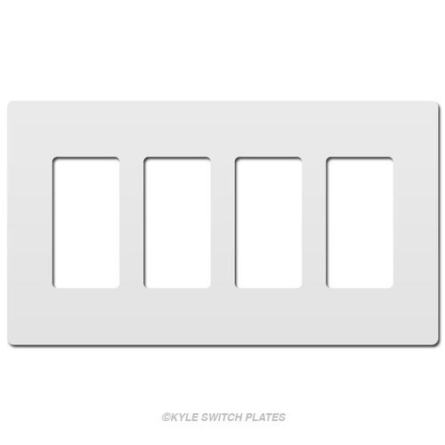 White Screw-Less Decor Wall Plate 4-Gang Plastic - Legrand
