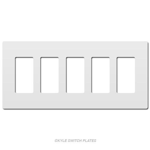 White Decor Hidden Screw Light Plates - Plastic 5-Gang Legrand