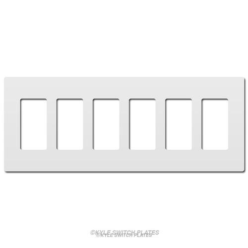 White Decor Screwless Wallplates - Plastic 6-Gang Legrand