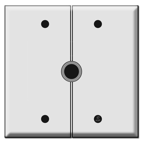 "Split 2-Gang Grommet Switch Plate with 1/2"" Opening"