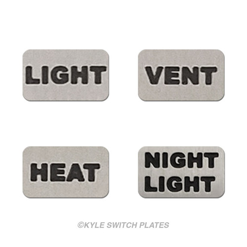 Light, Heat, Vent, Night Light Switch ID Wall Plate Labels