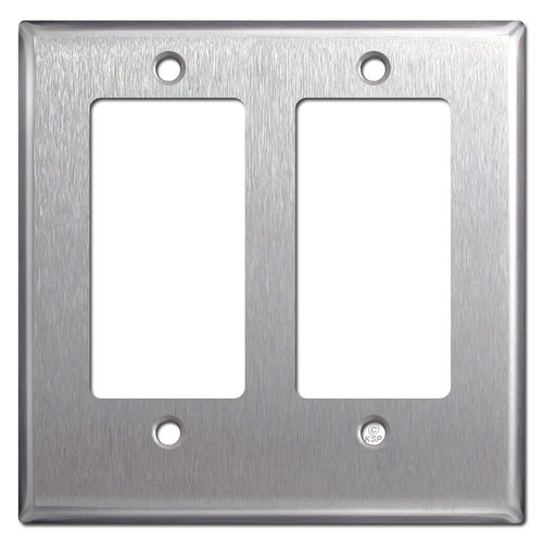 Half Short Trimmed 2 Decor Wall Plate - Satin Stainless Steel