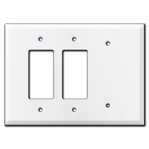 Oversized 1 Blank 2 Rocker Decor Outlet Cover Wall Plate - White