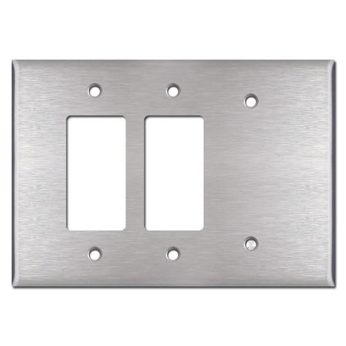 Oversized 1 Blank 2 Decor Wallplate - Satin Stainless Steel