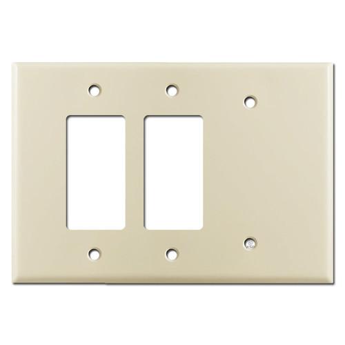 Jumbo 2 Rocker 1 Blank Light Switch Cover - Ivory