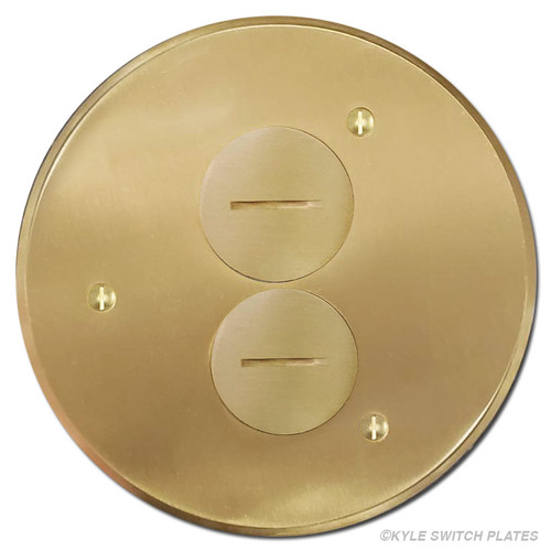 Round Duplex Electrical Floor Box Cover - Brass