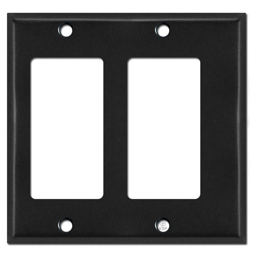 Narrow Offset 2 Decor Outlet Switch Wallplate - Black