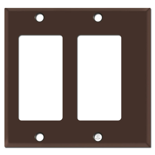 Half Narrow 2 Decor Outlet Rocker Switchplate - Brown