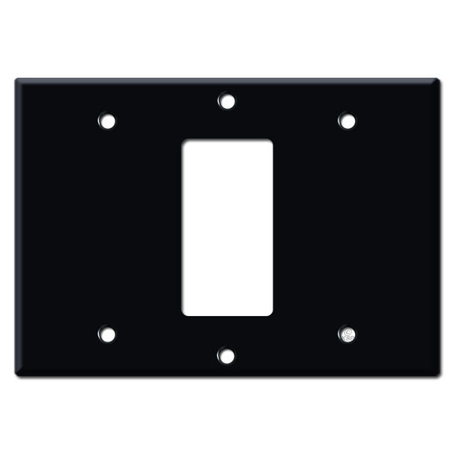 3-Gang Middle Rocker Light Switch Wall Plate - Black