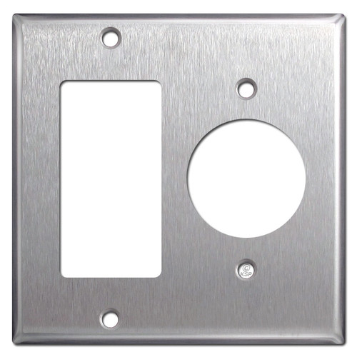 Decor Rocker + 1.62'' 20A TL Outlet Cover - Satin Stainless Steel