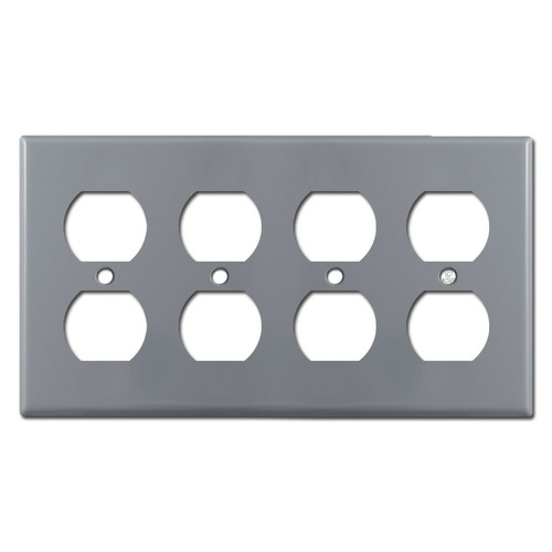 4 Duplex Electrical Outlet Wall Plate - Gray