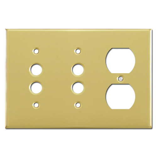 2 Pushbutton + Duplex Outlet Wall Plate Cover - Polished Brass