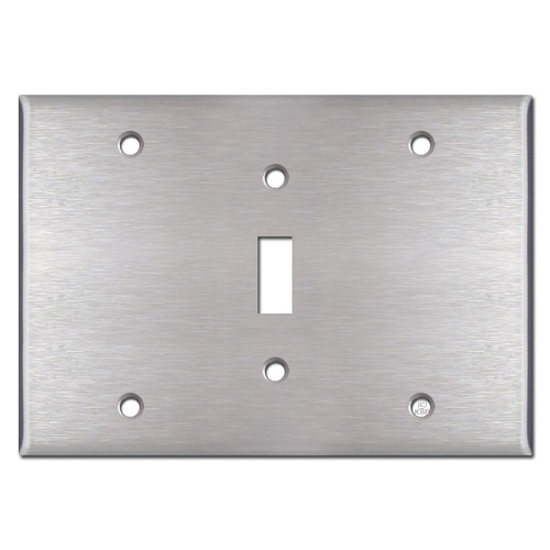 3-Gang 1 Middle Toggle Switchplate - Satin Stainless Steel