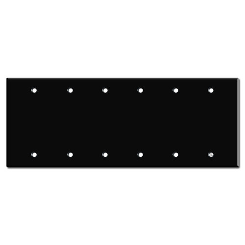 6 Blank Electrical Light Switch Cover - Black