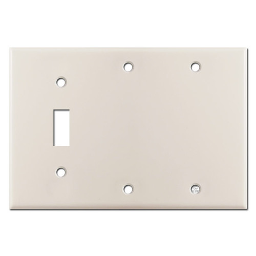 2 Blank 1 Toggle Electrical Switch Cover - Light Almond