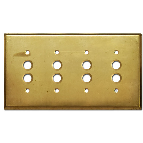 4 Push Button Light Switch Plate - Raw Brass