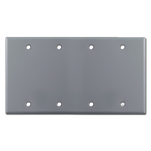 4 Gang Blank Electrical Wallplate Cover - Gray