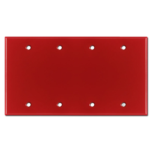 4 Blank Electrical Wall Plate Cover - Red