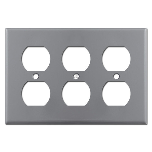 3 Duplex Electrical Outlet Cover Plate - Gray
