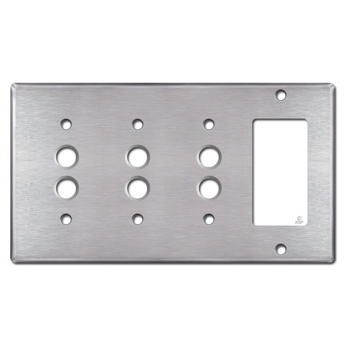 3 Push Button + 1 Decor Rocker Wall Plate - Satin Stainless Steel