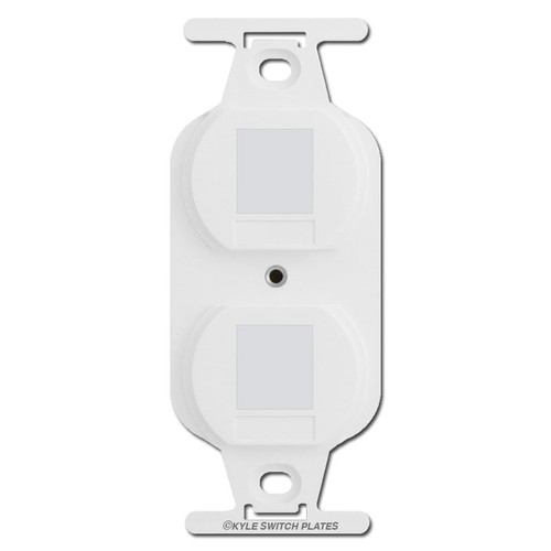White Duplex Outlet Blank Filler Insert for Wall Switch Plates