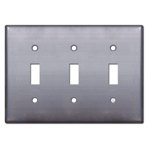 3 Toggle Switch Plate - Raw Steel Paintable