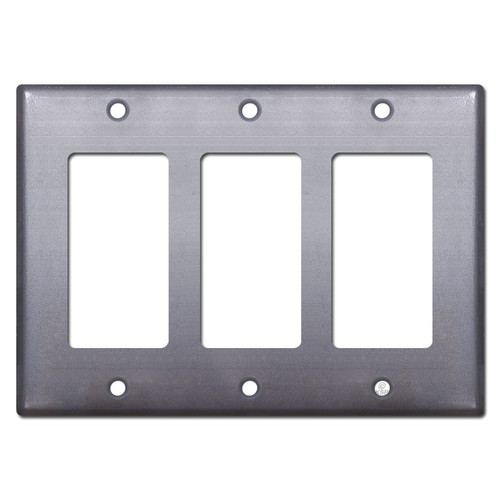 3 GFI Decor Rocker Switchplate - Raw Steel Paintable