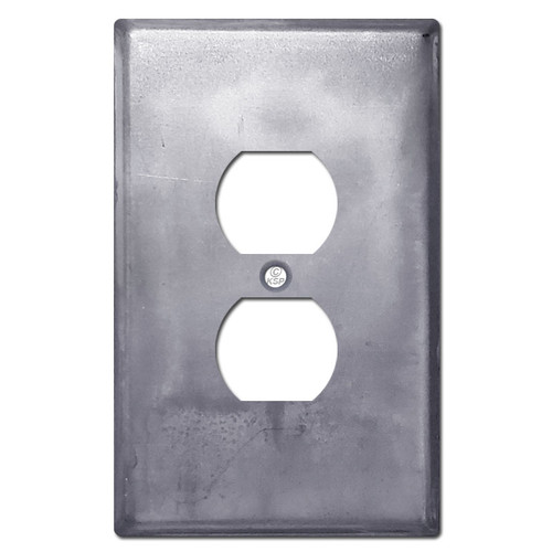 Oversized Duplex Outlet Plate - Raw Steel Paintable