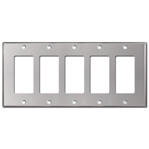 5 Decor Rocker GFI Wall Plate - Polished Stainless Steel